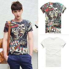 New Men's Cool Skull Couple Pattern Short Sleeves Colorful Tee Top T-shirt
