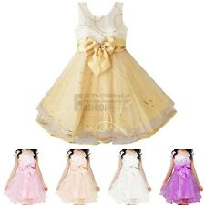 Girls Kids Flower Wedding Bridesmaid Pageant Tulle Bowknot Formal Dress SZ 3-8