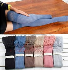 Girls Women Cotton Skinny Lace Flower Knee Socks Thigh-High Hose Stockings Hot