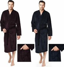 Luxury Men's Thermal Striped Fleece Bathrobe Dressing Gown Ex Store RRP £25.00