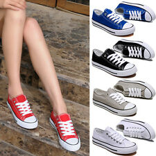 Womens Mens Lace Up Canvas Fashion Sneakers Casual Plimsoll Girls Sport Shoes