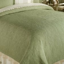 SAGE GREEN Twin Full Queen or King QUILT - 100% COTTON MATELASSE COVERLET