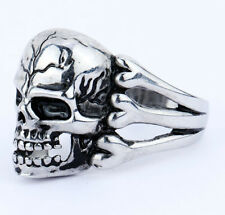 Men's Gothic Skull Flower Biker Stainless Steel Ring US Size7 8 9 10 11 12 13 14
