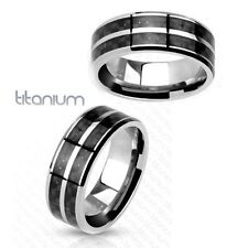1 Pc solid titanium with carbon fiber stripe inlay slit center band ring sz9~13