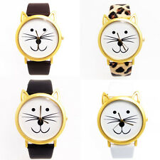 Fashion Women And Mens Lovely Cats Face Faux Leather Quartz Watch Newest