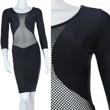 Sexy Solid Mesh Inset 3/4 Sleeve Bodycon Dress Knee Length Fitted Spandex S M L