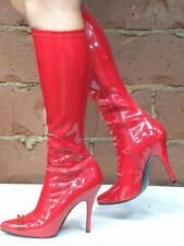 Red Drag Queen Wonder Woman Super Girl Costume Knee Boots size 13 14 15 16