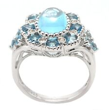 De Buman Genuine Swiss Blue Topaz Sterling and CZ Silver Ring Size 6.25/7