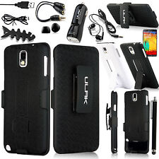 RUGGED HYBRID HARD CASE COVER + CLIP HOLSTER FOR SAMSUNG GALAXY NOTE III 3 N9000