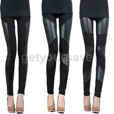 New Fashion Sexy Lady Stitching Stretchy Faux Leather Back Tight Leggings Pants