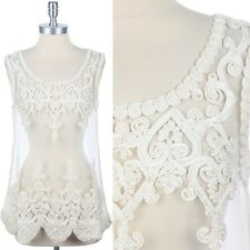 Full Sheer with Crochet Detail Cute Tank Top Unique Stylish Sleeveless S/M M/L