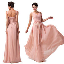 ON SALE!! Deep V Chiffon Ball Gown Evening Prom Party Bridesmaid Formal Dresses
