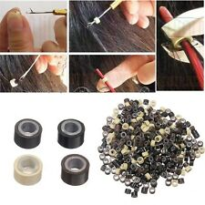 Silicone Micro Links Rings Lined Beads For Feather Hair Extension Tool 4 Color