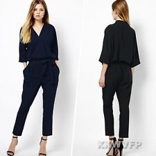 Women Sexy Half Sleeve Wrap Tunic Long Pants Jumpsuit Playsuit Rompers Overalls