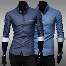 2014 New Fashion Men Slim Fit Long Sleeve Button Cotton Denim Casual Dress Shirt