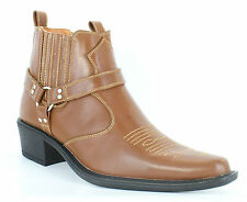 Men Cowboy Western Style Cuban Heel Ankle Harness Brown Boots Size 7 8 9 10 11