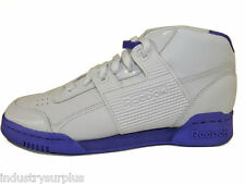 Reebok  Men's Workout Plus Mid BRK White / Purple Leather Retro Athletic Shoes