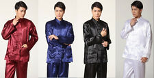 Chinese men's style silk/satin kung fu suit pajamas SZ: S M L XL XXL