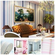 10M,Simple Style Vertical Stripes  Non-Woven Wallpaper Rolls,Blue&Pink,Bedroom
