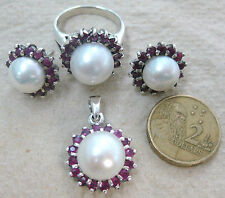 925 STERLING SILVER real RUBY & PEARL Halo design Earrings Pendant Ring SET