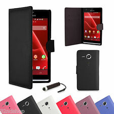 BOOK WALLET PU LEATHER CASE COVER FOR Sony Xperia SP M35h +FREE SCREEN PROTECTOR