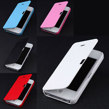 Magnetic Flip Full Protect PU Leather Case Cover Pouch Skin For iPhone 4 4S 5 5S