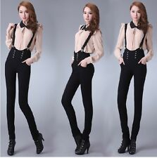 Lady Girl Overall Skinny Slim Suspender Tall waist haroun Trousers Pants