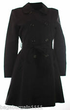 NEW CHAINSTORE LADIES BLACK SMART BUSINESS OFFICE LONG MAC TRENCH COAT SIZE 8-18