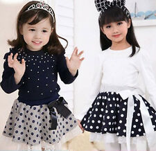Lastest Cute Kids Toddler Clothes Girls Tops Dots Short Skirt Outfit Suit Sz3-8Y