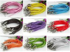 Wholesale Lot 10pcs Mixed Color Twist Leather Cord Rope Bracelets Bangle Fashion
