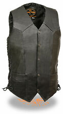 Mens Tall Leather Snap Front Black Biker Vest with Side Laces