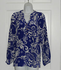 NWT LILLY PULITZER SPECTRUM BLUE TIDE POOLS ELSA SILK TOP BLOUSE S M
