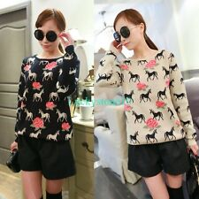 Fashion Women Horses Rose Crewneck Long Sleeve Knitwear Sweater Pullover Jumper