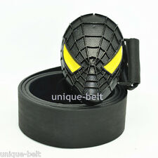 New Leather Mens Superhero Spider-Man Metal Belt Buckle Black Yellow Cosplay