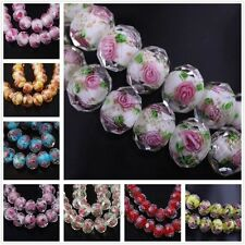 12x8mm,10Pcs Faceted Lampwork Glass Rose Flower Loose Spacer Bead