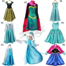 Girls Frozen Princess Elsa Anna Gown Costume Cosplay Skirt Party Fancy Dress Up