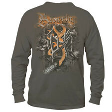 Mens NWT Gray Browning Buckmark Shedz & Camo Long Sleeve T-Shirt Size L XL