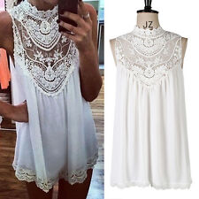 Women New Sexy Lace Floral Sleeveless Casual Party Cocktail Evening Mini Dress