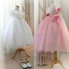Little Girl Kids Princess Formal Dress Lace Tulle Bow Belt Wedding Gown Dress