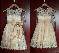 2014 Princess Lace Bow Baby Girl Princess Flower Girl Dress Flower Girl Dress