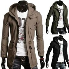 NEW Mens Military Style Long Hoodie Jacket Coat Trench Men Casual Outwear Hooded