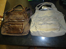 Aeropostale Womens Hobo Distressed Canvas Leather Like Hand Bag Tote Brown Gray