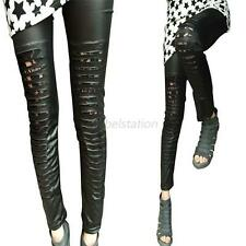 Sexy Women Stitching Stretchy Faux Leather Black Tights Leggings Stripes Pants