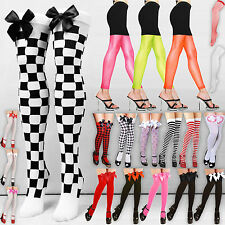 THIGH HIGH OVER KNEE BOW CHECK TARTAN TIGHTS FANCY DRESS STOCKINGS SOCKS HOLD UP