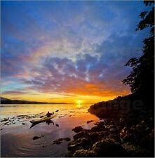 Poster / Leinwandbild Male sea kayaker at sunset on Blackfish Sound - Gary Luhm