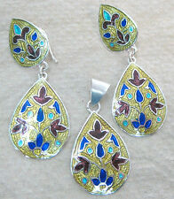 925 STERLING SILVER Yellow BLUE Enamel Morrocan Design Teardrop Earrings/Pendant