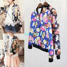 Fashion Women Retro Floral Print Zip Jacket Long Sleeve Casual Coat Blue Navy