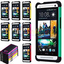 Color Black Hybrid Rugged Hard/Soft Matte Case Skin Cover for HTC One M7 Phone