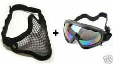 2 in 1 Airsoft Metal Mesh Face Mask + Protection Goggles Shooting Wargame