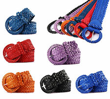 Womens Chunky Wide Belt Woven Braided Patent Leather Plaited Girl Stylish Buckle